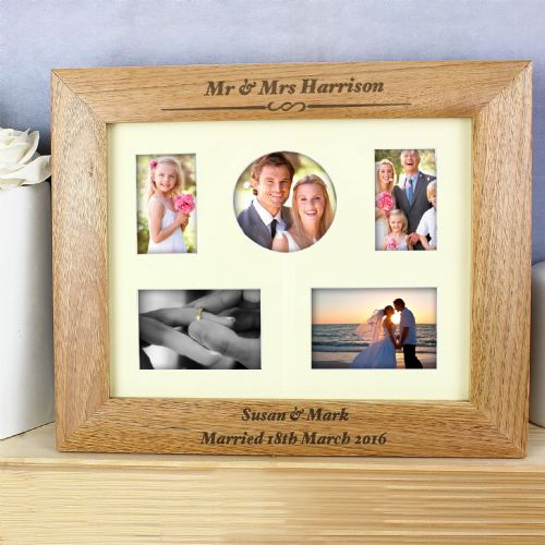 Wedding Photo Frame Gift - Beautiful Wooden 10 x 8 frame personalised with any message Wedding Gift